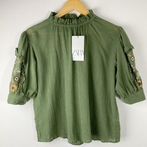 Zara Embroidered Sleeve Blouse Army Green Size S